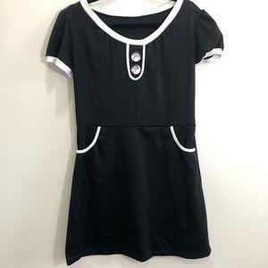Dresses & Skirts - Vintage Black Dress Mod French Pockets Size M/L